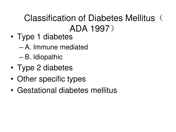 Classification of Diabetes Mellitus