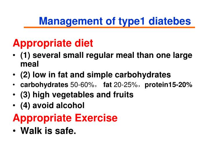 Management of type1 diatebes