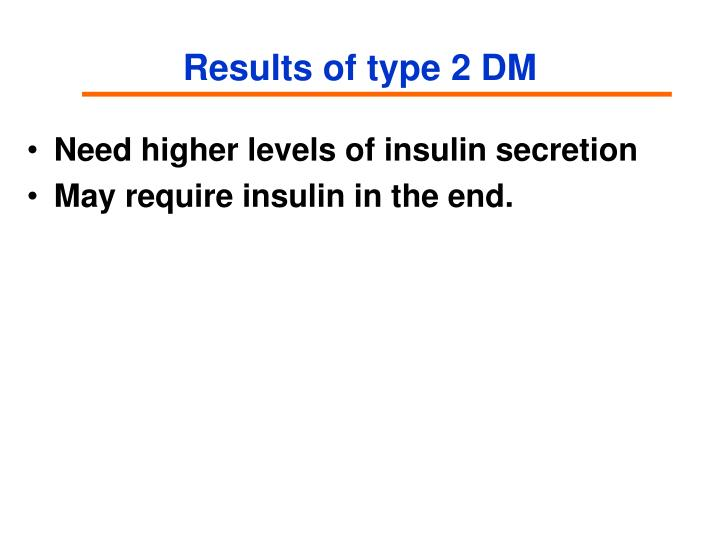 Results of type 2 DM
