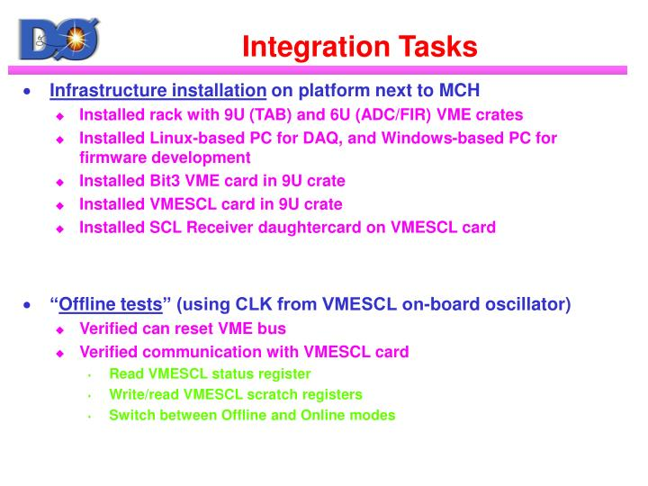 Integration Tasks