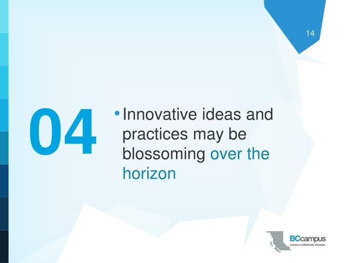 Innovative ideas and practices may be blossoming