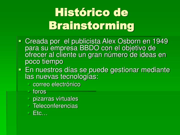 Histórico de Brainstorming