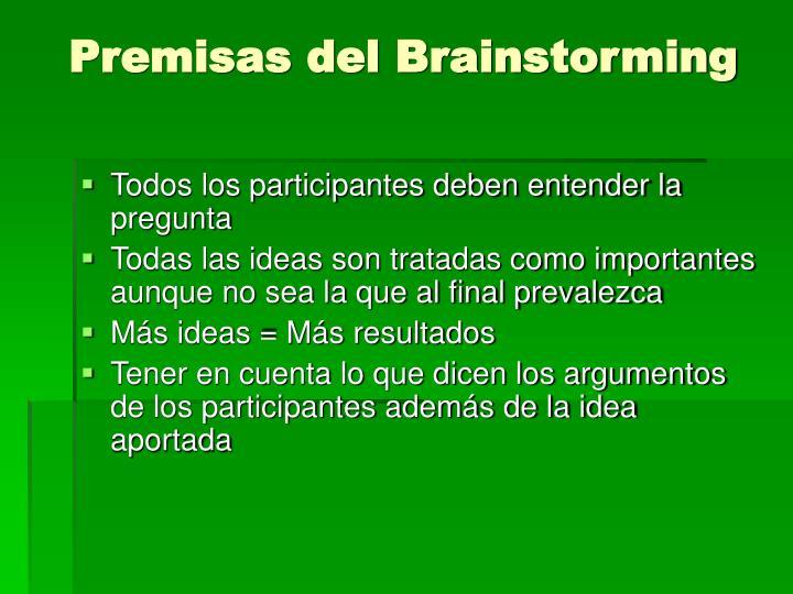 Premisas del Brainstorming