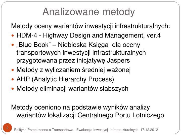 Analizowane metody