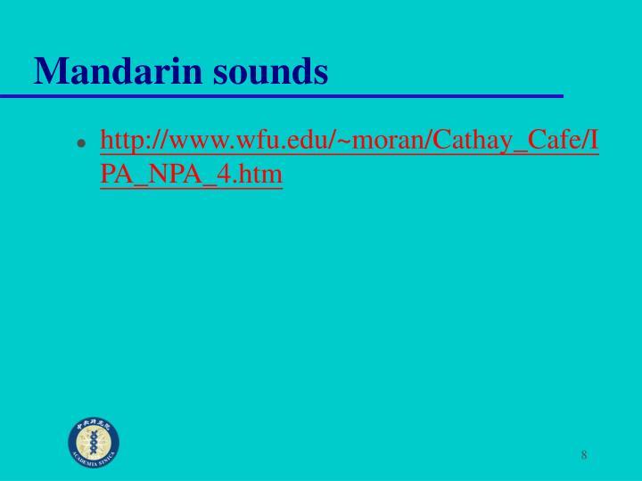 Mandarin sounds