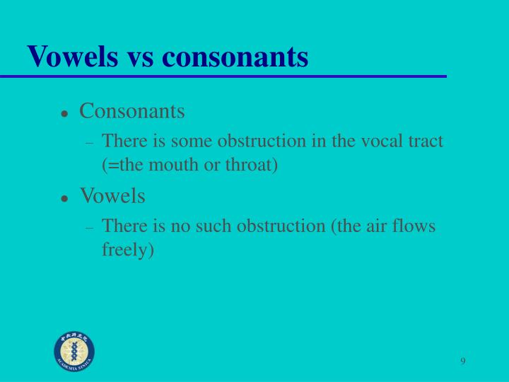 Vowels vs consonants