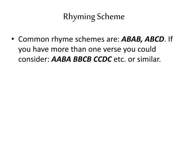 Rhyming Scheme