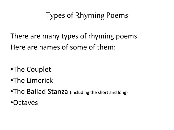 Types of Rhyming Poems