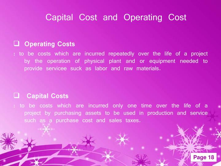 Capital Cost and Operating Cost