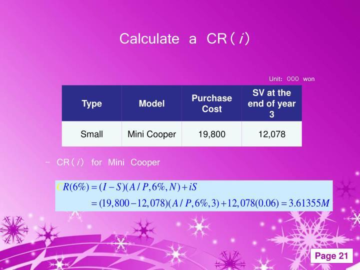 Calculate a CR(