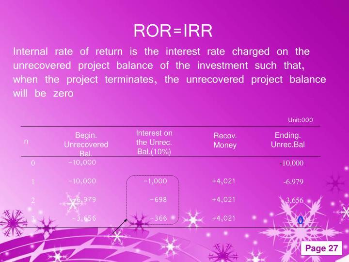 ROR=IRR
