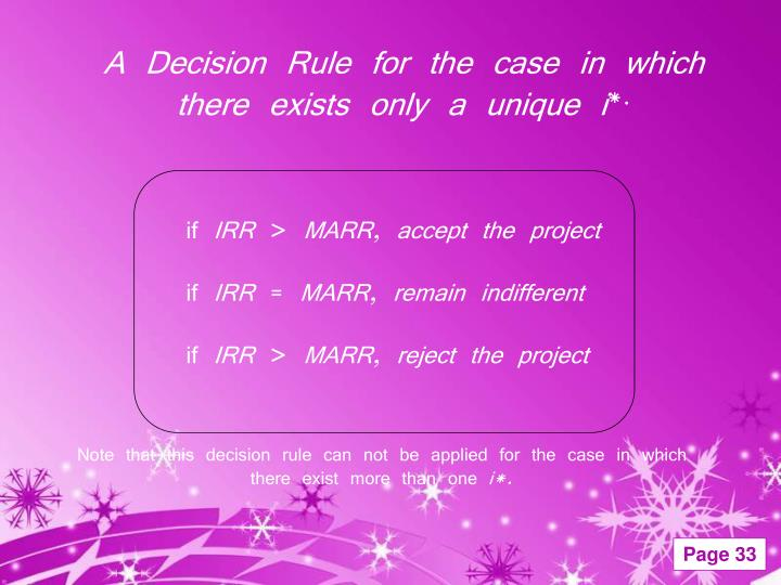 A Decision Rule for the case in which there exists only a unique i