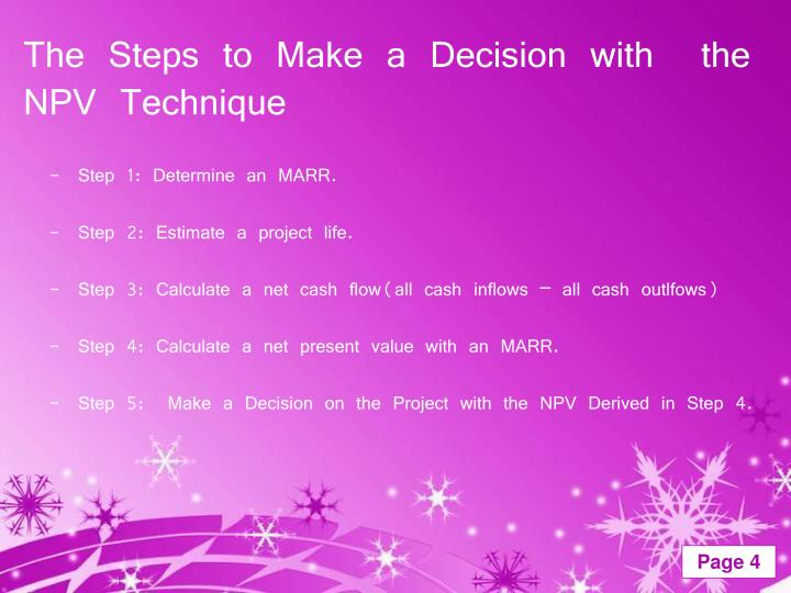 The Steps to Make a Decision with  the NPV Technique