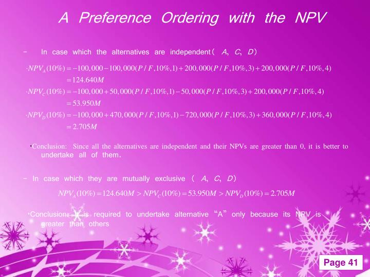 A Preference Ordering with the NPV