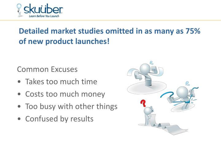 Detailed market studies omitted in as many as 75% of new product launches!