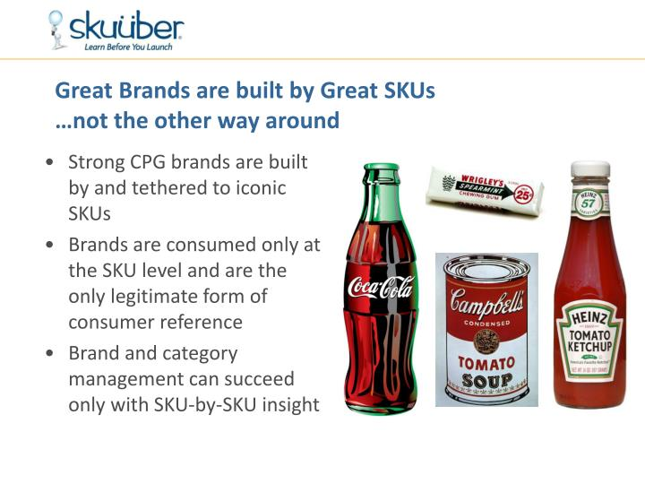 Great brands are built by great skus not the other way around