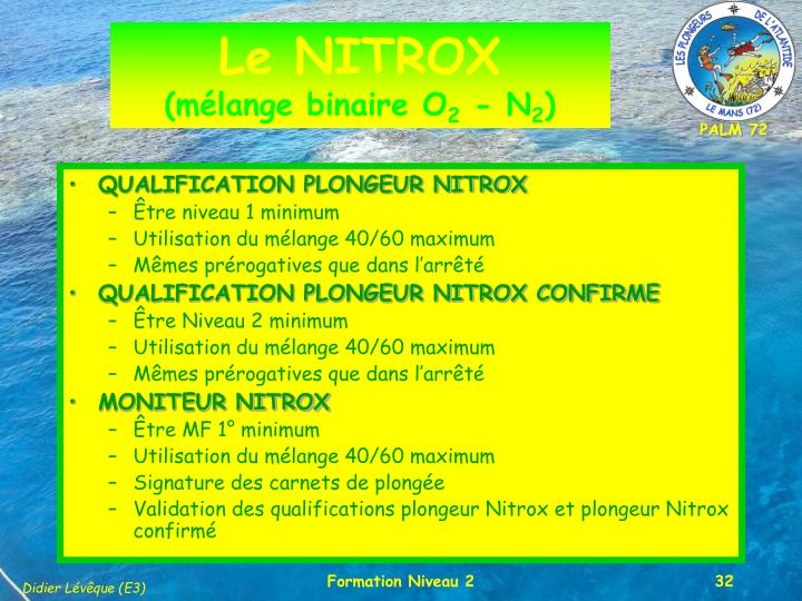 QUALIFICATION PLONGEUR NITROX