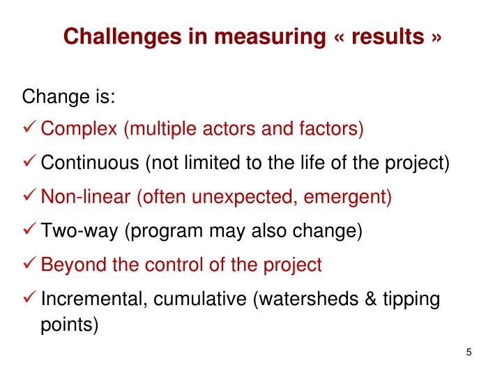 Challenges in measuring « results »