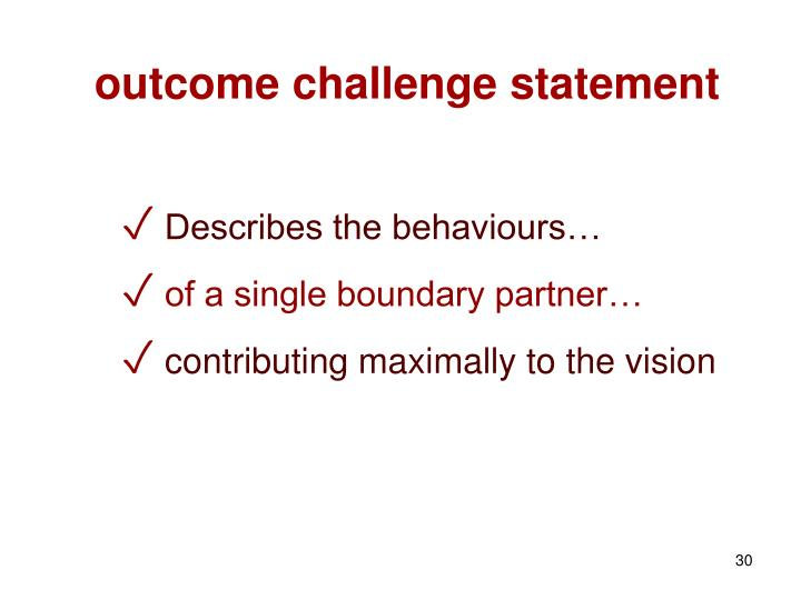 outcome challenge statement