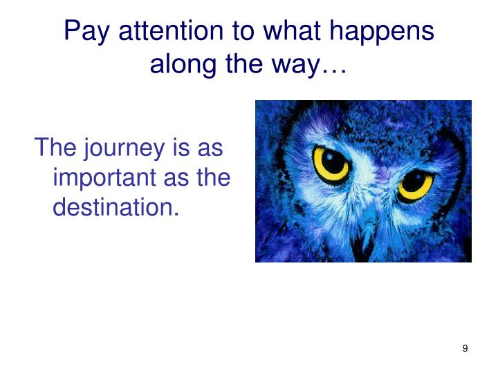 Pay attention to what happens along the way…