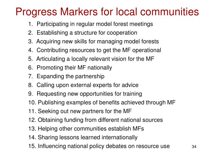Progress Markers for local communities