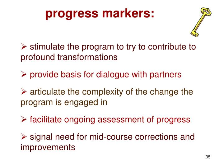 progress markers: