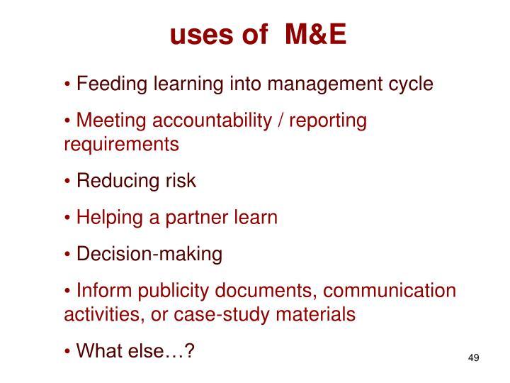 uses of  M&E