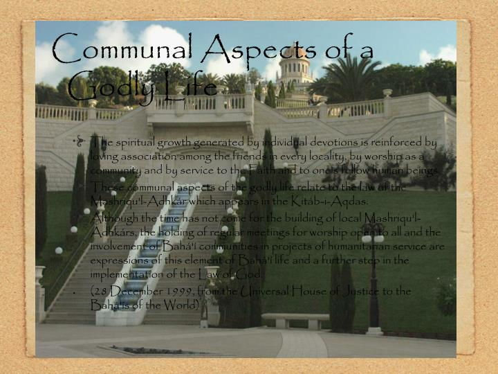 Communal Aspects of a Godly Life