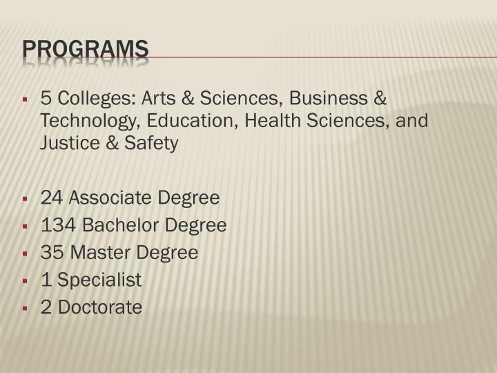 5 Colleges: Arts & Sciences, Business & Technology, Education, Health Sciences, and Justice & Safety