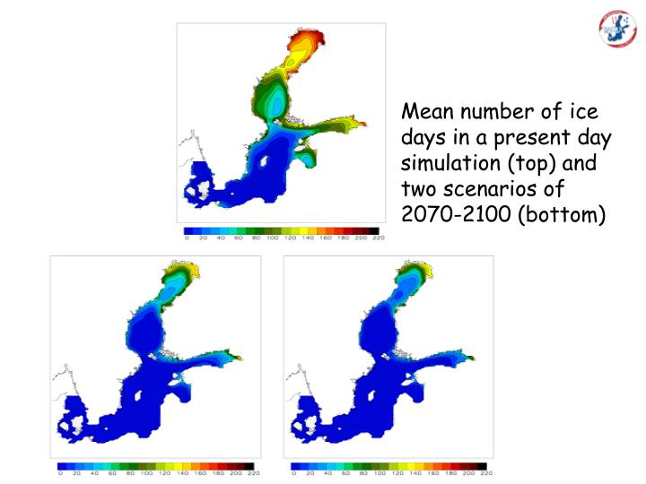 Mean number of ice days in a present day simulation (top) and two scenarios of 2070-2100 (bottom)