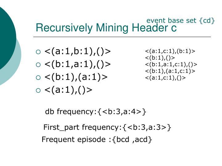 Recursively Mining Header c