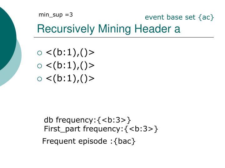 Recursively Mining Header a