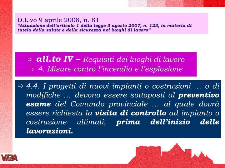 D.L.vo 9 aprile 2008, n. 81