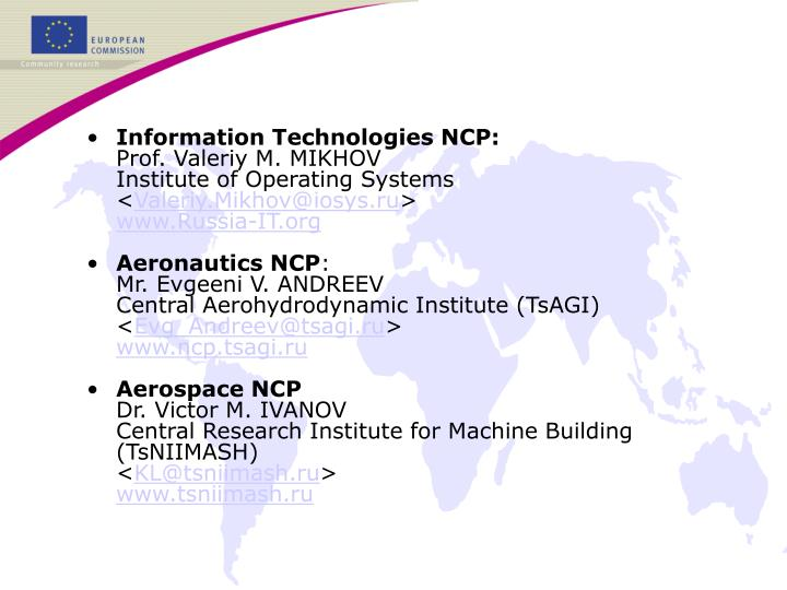 Information Technologies NCP: