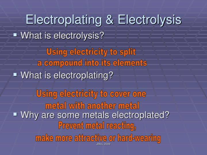 Electroplating & Electrolysis
