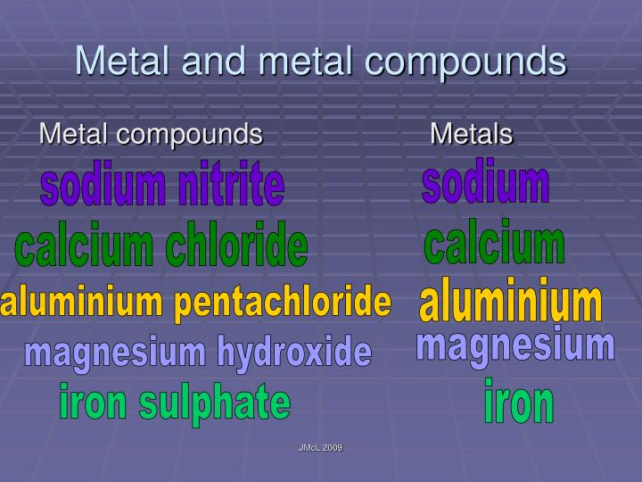 Metal and metal compounds