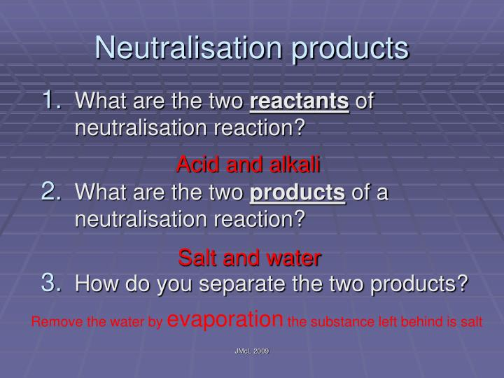 Neutralisation products