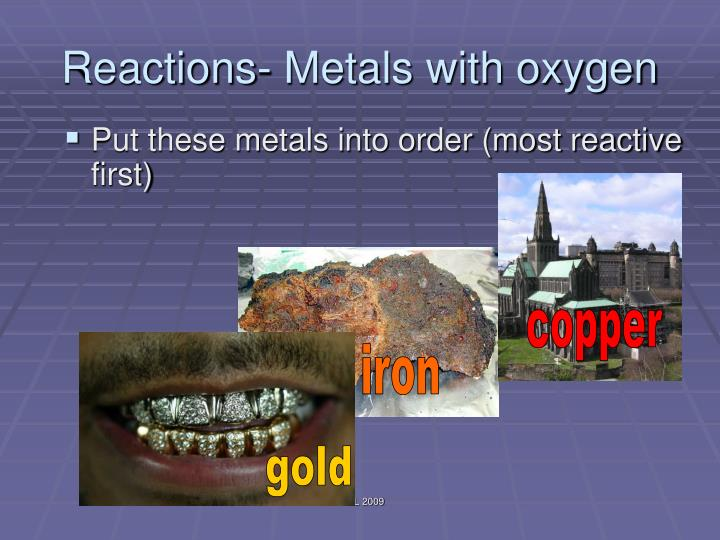 Reactions- Metals with oxygen