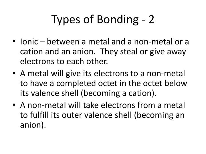 Types of Bonding - 2