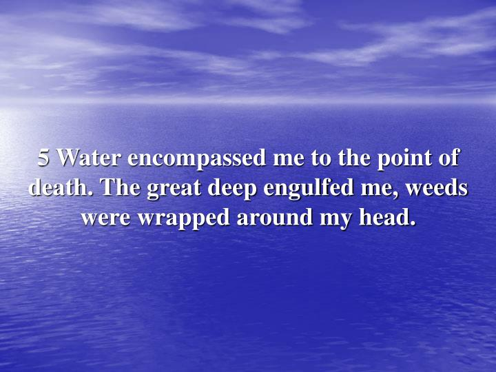 5 Water encompassed me to the point of death. The great deep engulfed me, weeds were wrapped around my head.