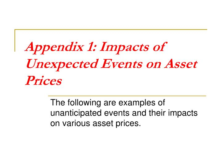 Appendix 1: Impacts of Unexpected Events on Asset Prices