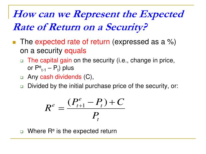 How can we Represent the Expected Rate of Return on a Security?