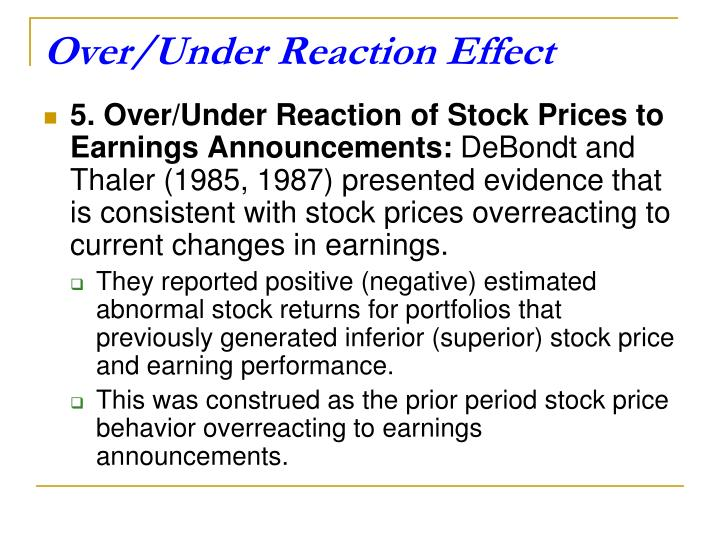 Over/Under Reaction Effect