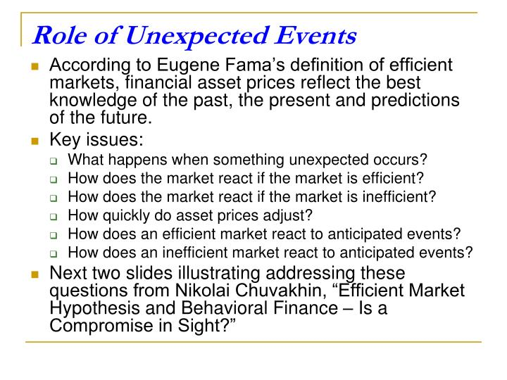 Role of Unexpected Events