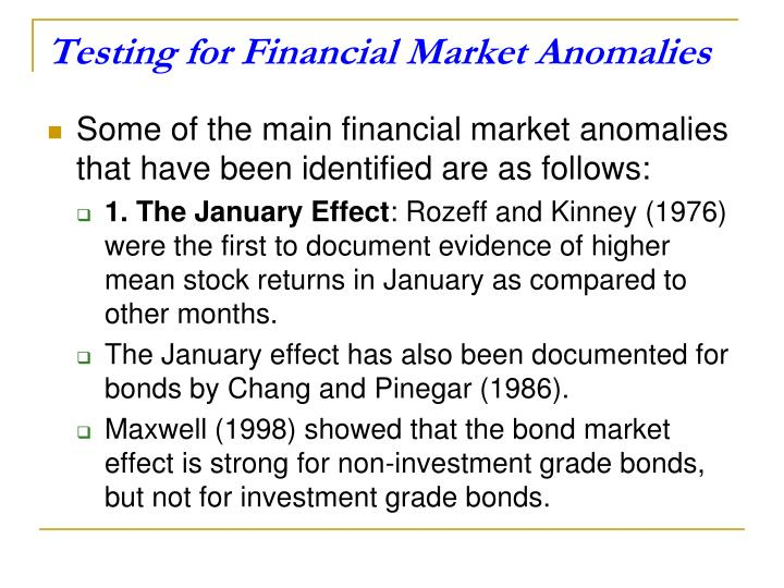 Testing for Financial Market Anomalies