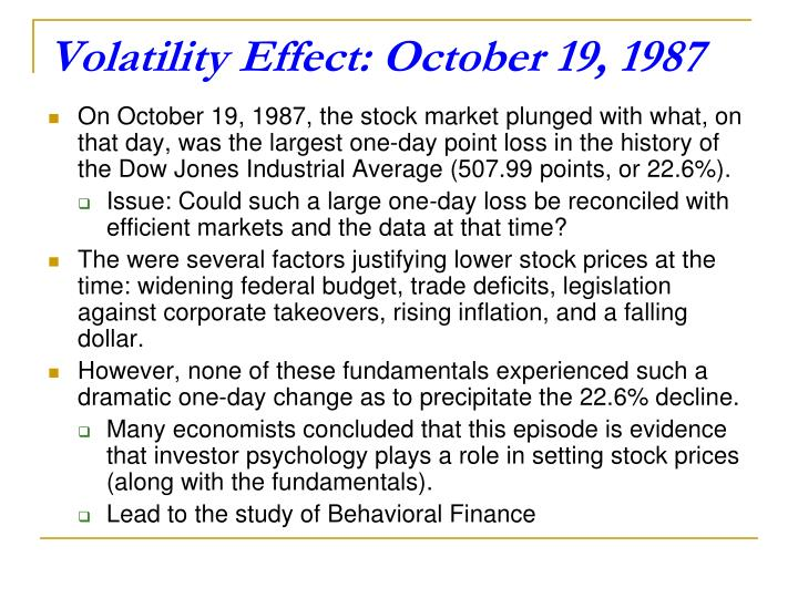 Volatility Effect: October 19, 1987