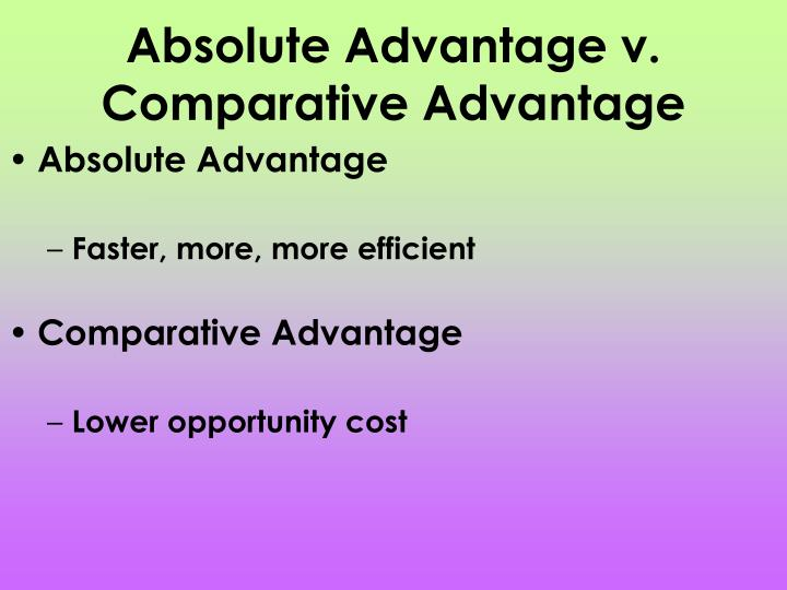 Absolute Advantage v. Comparative Advantage