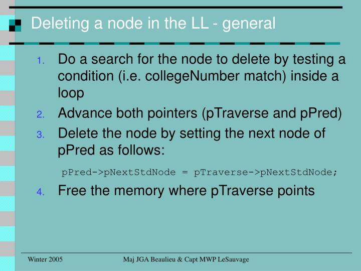 Deleting a node in the LL - general