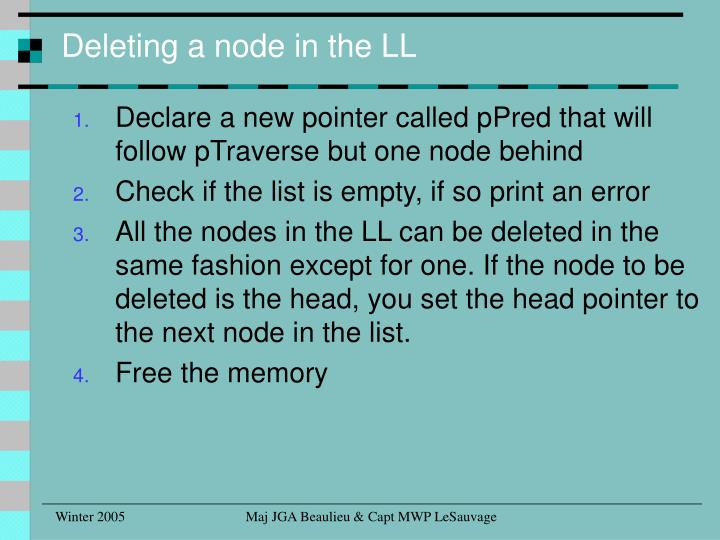 Deleting a node in the LL