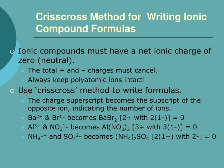Crisscross Method for  Writing Ionic Compound Formulas
